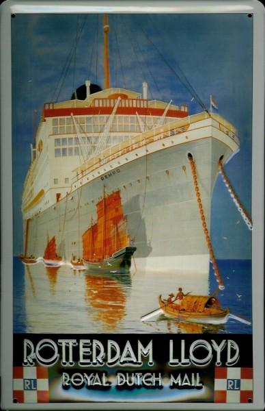 Blechschild Rotterdam Lloyd Passagierschiff Royal Dutch Mail Dampfer Reedereiplakat Schiff Schild No