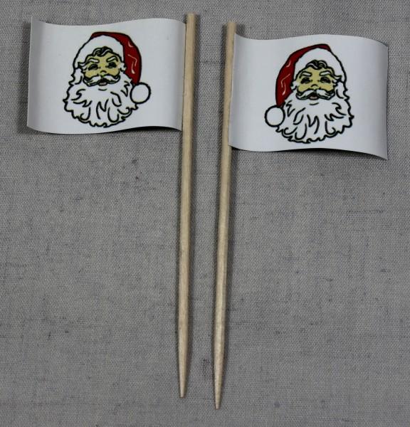 Party-Picker Flagge Weihnachten 4 Weihnachtsmann Papierfähnchen in Spitzenqualität 50 Stück Beutel