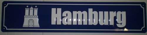 Strassenschild Hamburg Wappen aus Stahlblech 46x10 cm Schild Andenken Souvenir