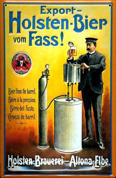 Blechschild Holsten Bier vom Fass Hamburg Schild Fassbier Werbeschild