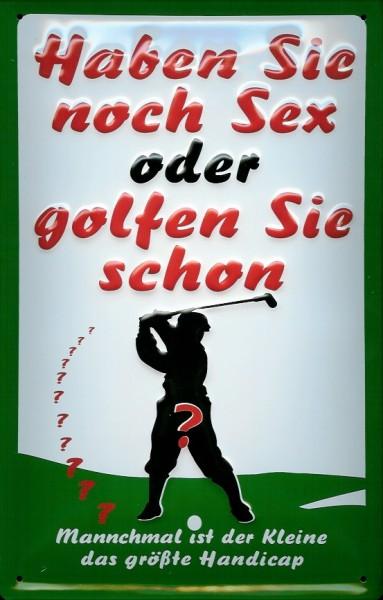 Blechschild Haben sie noch Sex oder spielen Sie schon Golf Funschild Schild