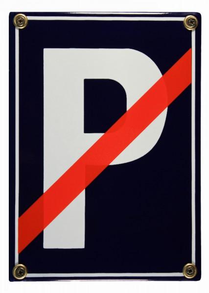 Emaille Schild Parkplatz rot durchgestrichen Verkehrsschild Verkehrszeichen Emailleschild Verbotssch