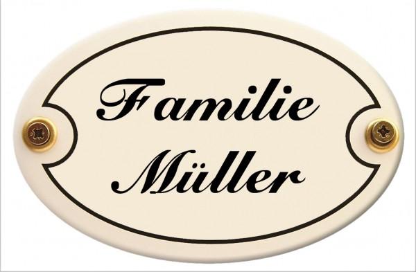 Türschild oval mit Wunschtext 15 x 10 cm wetterfestes Emaille verschiedene Farben und Schriften