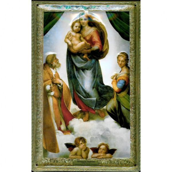 Blechschild Sixtinische Madonna Raffael Engel Schild Nostalgieschild