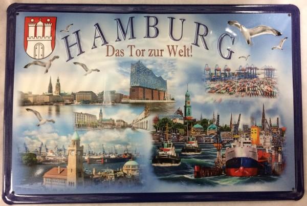 Blechschild Nostalgieschild Hamburg Das Tor zur Welt Diverse Bilder