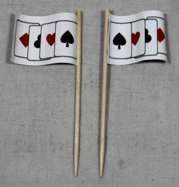 Party-Picker Flagge Spielkarten Poker Skat Papierfähnchen in Spitzenqualität 50 Stück Beutel