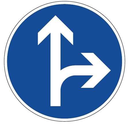 Verkehrsschild / Verkehrszeichen Fahrrichtung Pfeil rechts geradeaus 420 mm rund Aluminium reflektie