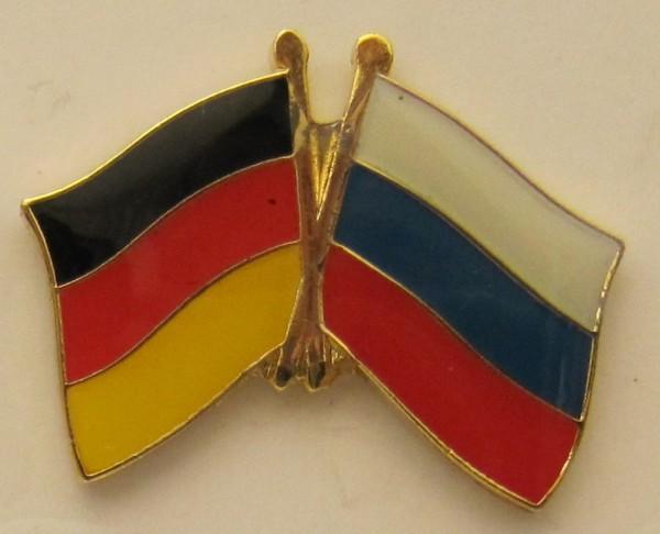 Russland / Deutschland Freundschafts Pin Anstecker Flagge Fahne Nationalflagge
