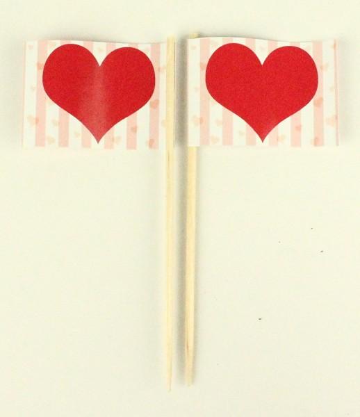 Party-Picker Flagge Herz Valentinstag Hochzeit Papierfähnchen in Spitzenqualität