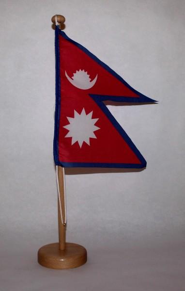 Tischflagge Nepal 15x15 cm optional mit Holz- oder Chromständer Tischfahne Tischfähnchen