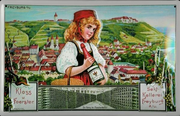 Blechschild Sektkellerei Freyburg Rotkäppchen Sekt Schild retro Werbeschild