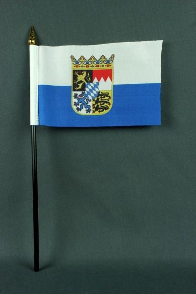 Kleine Tischflagge Bayern Landesflagge 10x15 cm optional mit Tischfähnchenständer