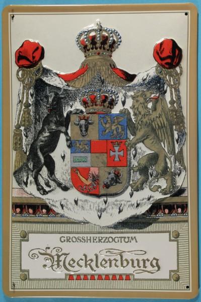 Blechschild Nostalgieschild Grossherzogtum Mecklenburg Wappen Schild Wappenschild