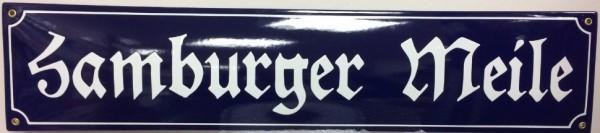 Emaille Schild Hamburger Meile blau / weiß Emailleschild