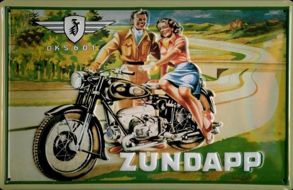 Blechschild Zündapp OKS 601 Motorrad Sozius Schild Nostalgieschild