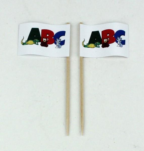 Party-Picker Flagge ABC Tiere Papierfähnchen in Spitzenqualität 50 Stück Beutel