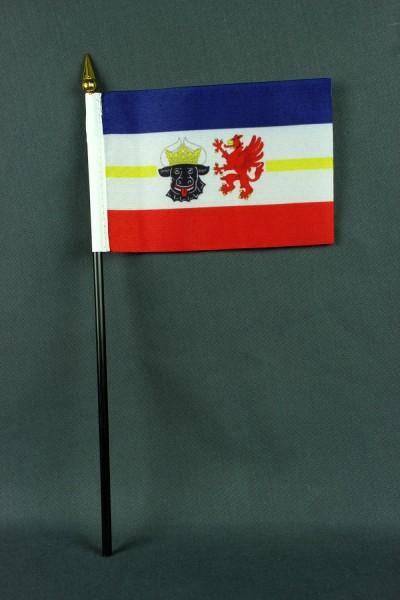 Kleine Tischflagge Mecklenburg Vorpommern 10x15 cm optional mit Tischfähnchenständer