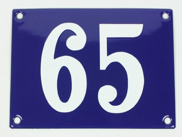 65 Ohne Rahmen blau Clarendon 12x18 cm sofort lieferbar Schild Emaille Hausnummer