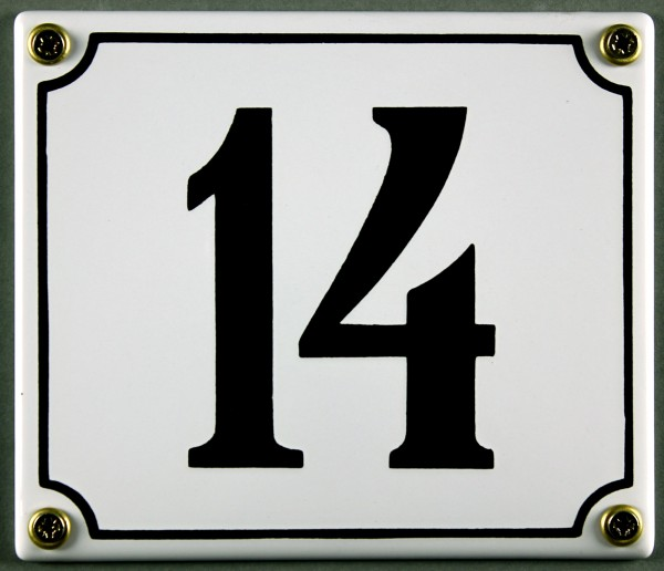 Hausnummernschild 14 weiß 12x14 cm sofort lieferbar Schild Emaille Hausnummer Haus Nummer Zahl Ziffe