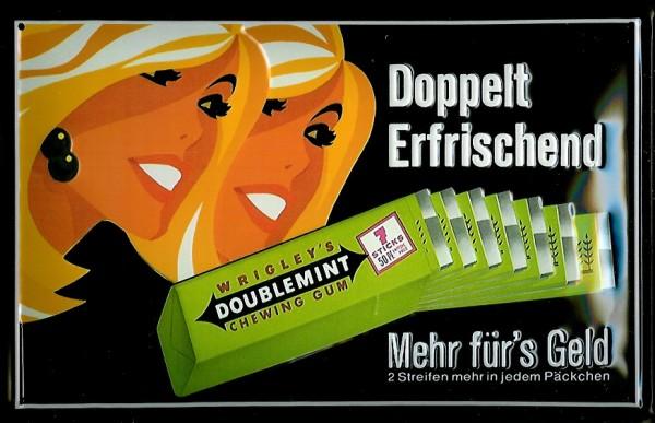Blechschild Wrigley Doublemint Kaugummi Schild Nostalgieschild