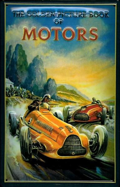 Blechschild Golden Book of Motors Rennwagen retro Schild Nostalgieschild Autorennen