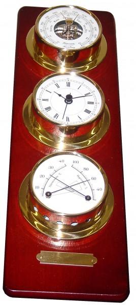 Schiffsuhr, Barometer ,Thermo/Hygrometer auf Holztafel