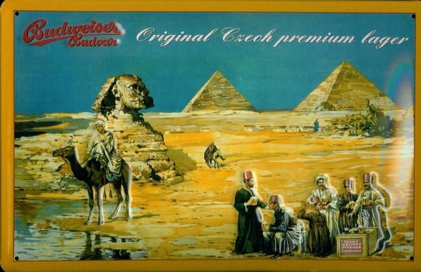 Blechschild Budweiser Bier Ägypten Pyramiden Schild retro Werbeschild