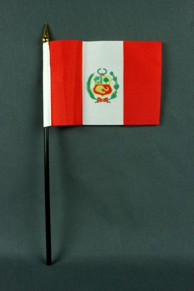 Kleine Tischflagge Peru 10x15 cm optional mit Tischfähnchenständer