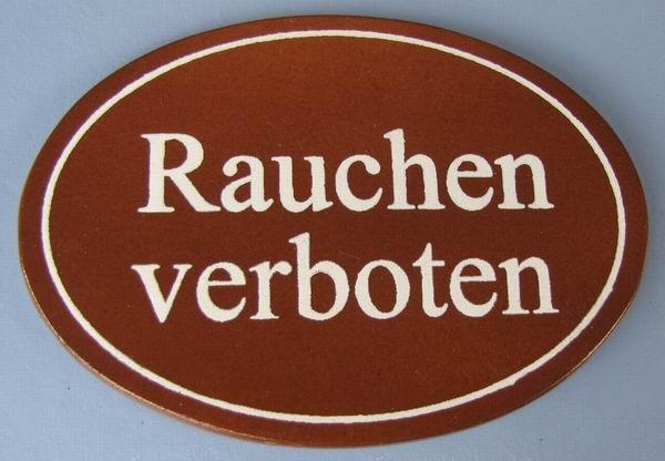 Ovales Holz - Türschild Rauchen verboten 7x10 cm dunkles Holzschild