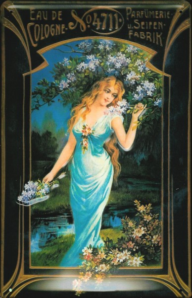 Blechschild 4711 Eau de Cologne Frau mit Blumen Kosmetik kölnisch Wasser Schild Parfum Werbeschild