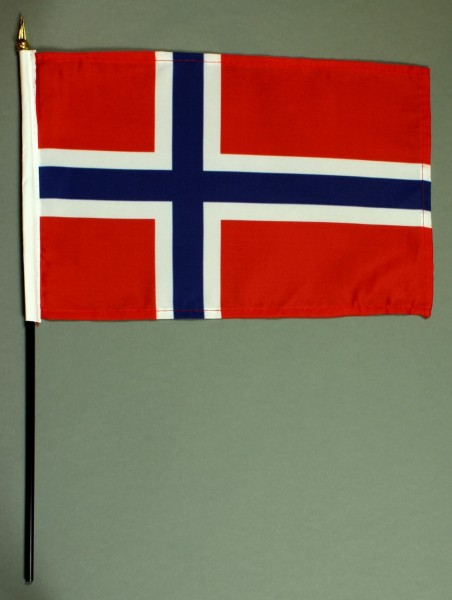 Tischflagge Norwegen 20x30 cm optional mit Tischflaggenständer aus Mahagoni Holz