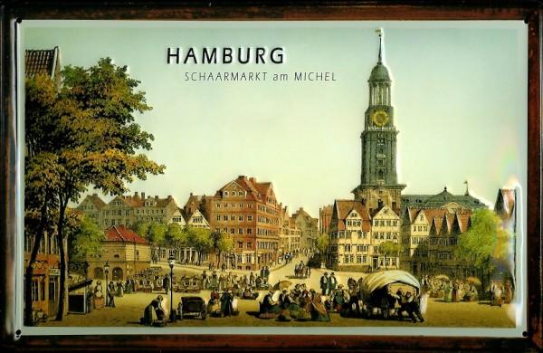 Blechschild Nostalgieschild Hamburg Schaarmarkt mit Michel Hamburgensie Schild retro Werbeschild