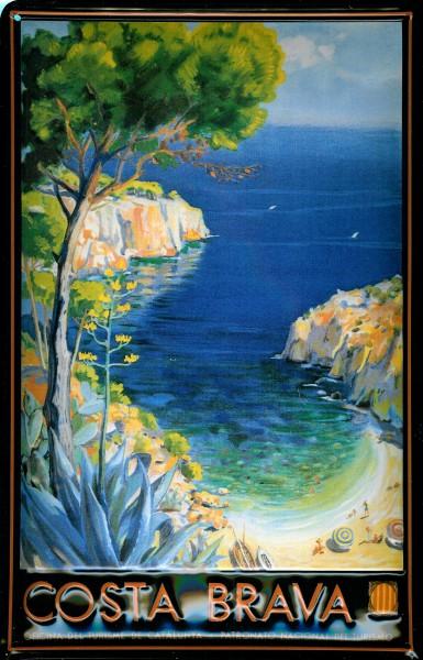 Blechschild Nostalgieschild Costa Brava Bucht Strand Spanien Schild Tourismus Werbeschild