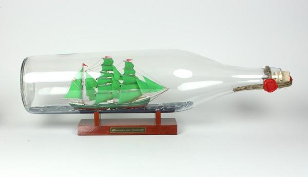 Alexander von Humboldt 3 Liter runde Asbach - Flasche Buddelschiff Flaschenschiff