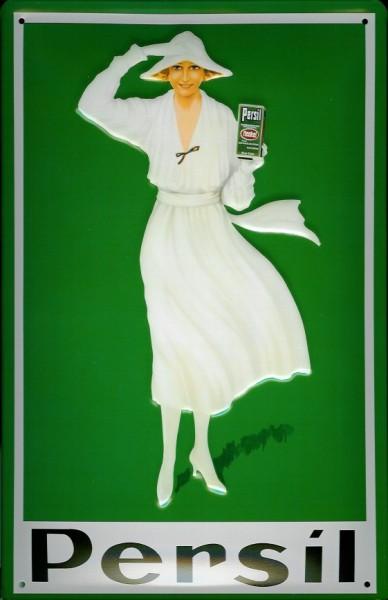 Blechschild Persil grün mit Frau WaschpulverSchild retro Werbeschild Nostalgieschild