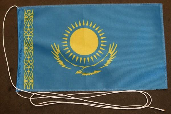 Tischflagge Kasachstan 25x15 cm optional mit Holz- oder Chromständer Tischfahne Tischfähnchen