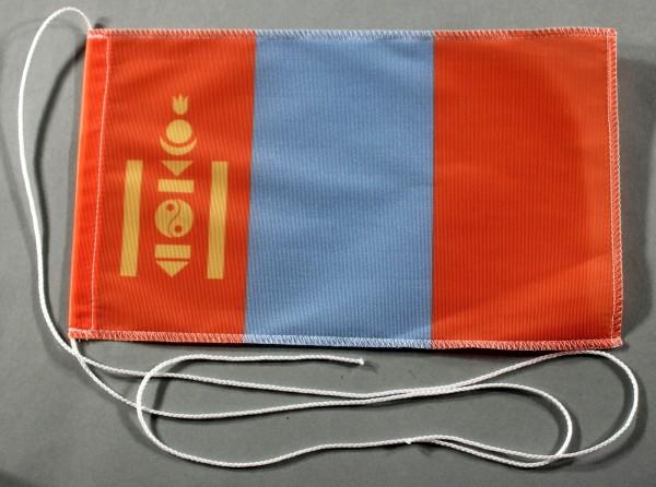 Tischflagge Mongolei 25x15 cm optional mit Holz- oder Chromständer Tischfahne Tischfähnchen