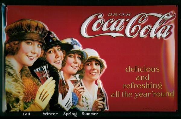 Blechschild Coca Cola 4 Seasons Jahreszeiten retro Schild Nostalgieschild