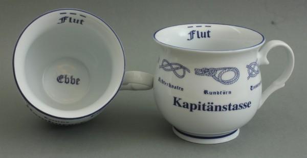 Kapitänstasse mit Seemannsknoten bauchig Kaffeebecher Kaffeetasse Kaffee Pott
