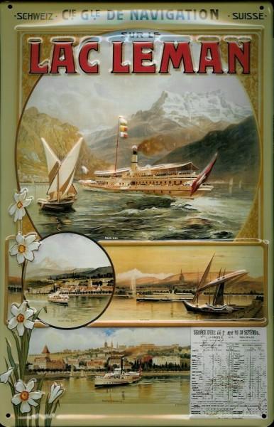 Blechschild Lac Leman Alpensee Fähre Fahrplan Schiffe Dampfer Schiff Schild Nostalgieschild Berge