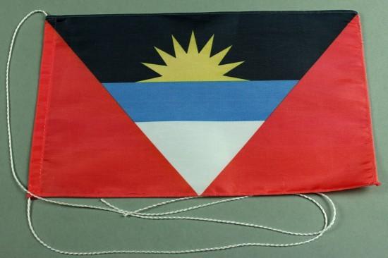 Tischflagge Antigua 25x15 cm optional mit Holz- oder Chromständer Tischfahne Tischfähnchen