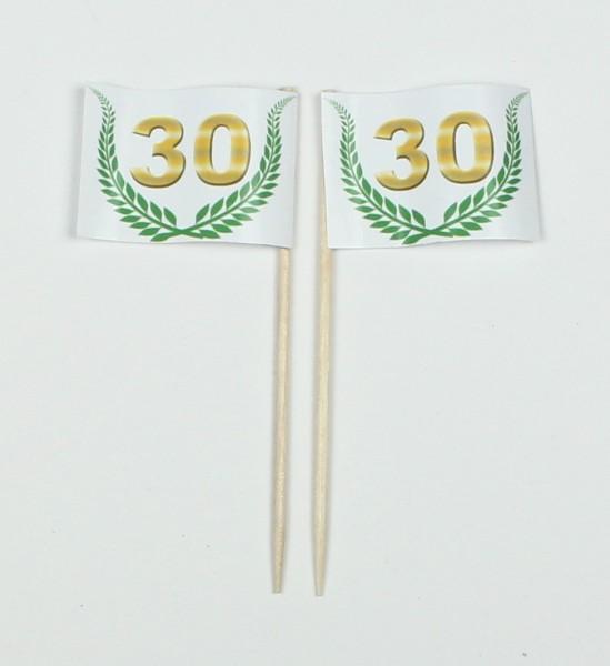 """Party-Picker Flagge Jubiläumskranz """"30"""" Jubiläum Papierfähnchen in Spitzenqualität 50 Stück Beutel"""