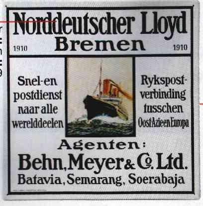 Blechschild Norddeutscher Lloyd Bremen Schild Behn, Meyer & Co. Ltd. Batavia, Semarang, Soerabaja
