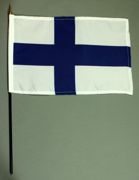 Tischflagge Finnland 20x30 cm optional mit Tischflaggenständer aus Mahagoni Holz