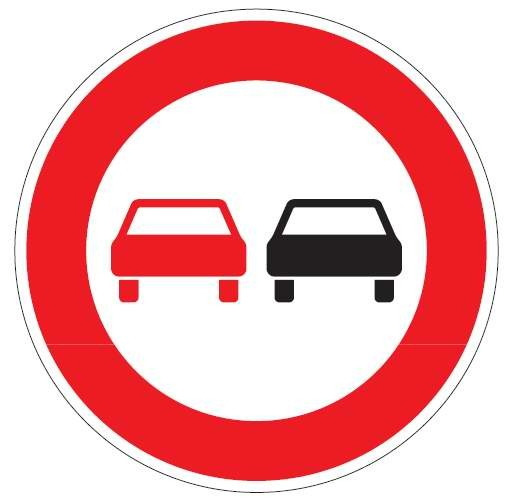 Verkehrsschild / Verkehrszeichen Überholverbot für Fahrzeuge aller Art 600 mm rund Aluminium reflekt