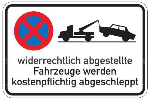 Aluminium Parkplatzschild widerrechtlich abgestellte Fahrzeuge 400x600 mm glatte Oberfläche