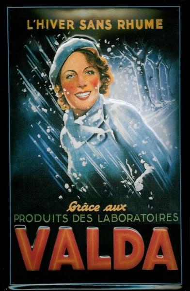 Blechschild Valda Frau im Regen Schild retro Werbeschild Nostalgieschild