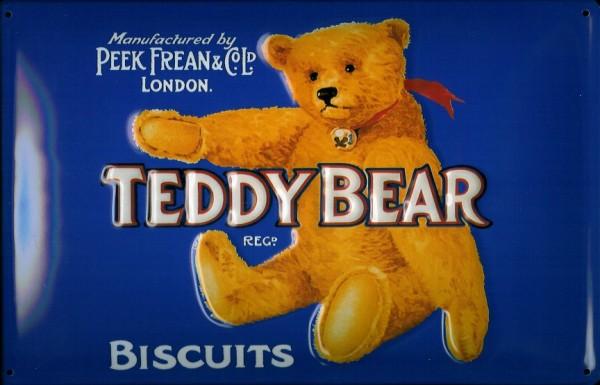 Blechschild Teddy Bear Biscuits Teddybär Kekse Schild Nostalgieschild