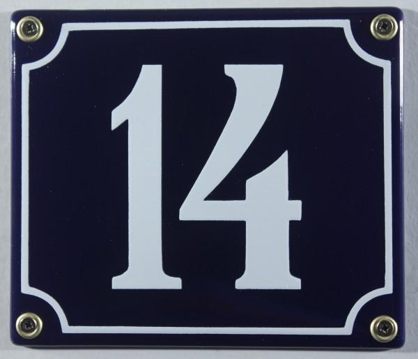 Hausnummernschild Emaille 14 blau - weiß 12x14 cm sofort lieferbar Schild Emaile Hausnummer Haus Num