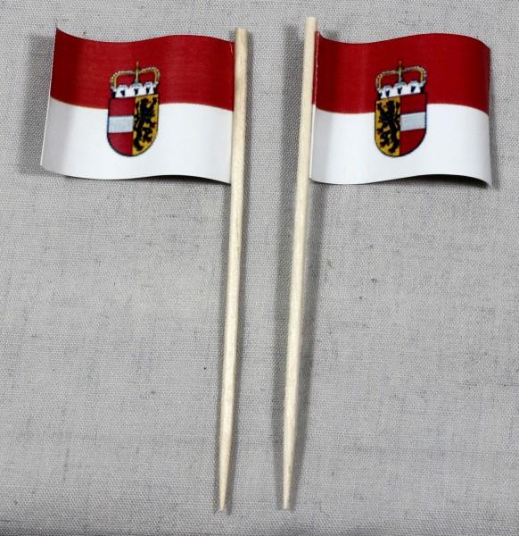 Party-Picker Flagge Salzburg Österreich Papierfähnchen in Spitzenqualität 50 Stück Beutel